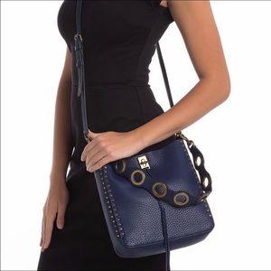 Rebecca Minkoff Darren Feed Bag in Midnight blue.